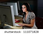 hispanic woman at work behind a ... | Shutterstock . vector #111071828