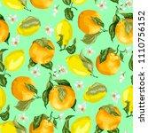 juicy citrus fruits in a...   Shutterstock .eps vector #1110756152