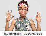satisfied beautiful african... | Shutterstock . vector #1110767918