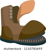 old brown torn boot. flat style.... | Shutterstock .eps vector #1110783695
