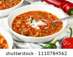 pressure cooker stuffed pepper... | Shutterstock . vector #1110784562