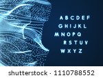 neon light alphabet. dotted... | Shutterstock .eps vector #1110788552