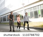 three friends play sports in... | Shutterstock . vector #1110788702
