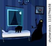 the cat scares the monster   Shutterstock .eps vector #1110796658