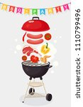 portable round barbecue with... | Shutterstock .eps vector #1110799496