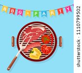 portable round barbecue with... | Shutterstock .eps vector #1110799502