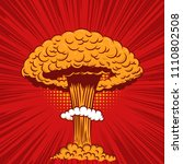 Comic style nuclear explosion on pop art style background. Design element for poster, card, banner, flyer. Vector illustration