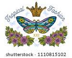 golden crown  butterflies... | Shutterstock .eps vector #1110815102
