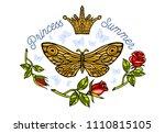 golden crown  butterflies... | Shutterstock .eps vector #1110815105