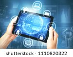 hands using tablet with digital ... | Shutterstock . vector #1110820322