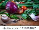 fresh mixed vegetables on... | Shutterstock . vector #1110831092