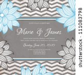 wedding card or invitation with ... | Shutterstock .eps vector #111083798