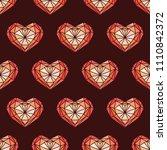 heart shaped brilliant seamless ... | Shutterstock .eps vector #1110842372