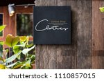 black signage on a rustic... | Shutterstock . vector #1110857015