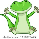 Illustration of a Green Lizard Sitting Down with Hands Up