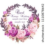 vintage wedding card with roses ... | Shutterstock .eps vector #1110878642