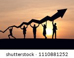silhouette of business people... | Shutterstock . vector #1110881252