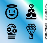 vector icon set about love with ...