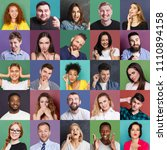 Small photo of Different emotions collage. Set of male and female emotional portraits. Young diverse people grimacing and gesturing on camera at colorful studio backgrounds
