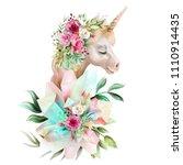 beautiful  cute  watercolor... | Shutterstock . vector #1110914435