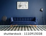 Navy Blue Room Interior With...