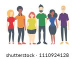 group of people wearing lgbt... | Shutterstock .eps vector #1110924128