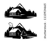 wood house in the hill  icons...   Shutterstock .eps vector #1110924665