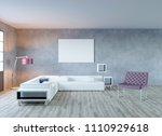 3d rendering of loft living... | Shutterstock . vector #1110929618