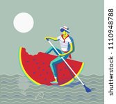 person rowing on a water melon | Shutterstock .eps vector #1110948788