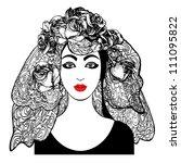 girl with veil   Shutterstock .eps vector #111095822