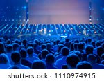 audience listens to the... | Shutterstock . vector #1110974915