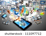business world on tablet pc - stock photo