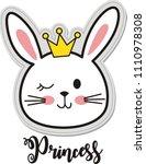 princess rabbit  vector... | Shutterstock .eps vector #1110978308