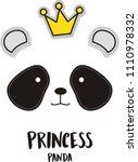 princess panda   vector... | Shutterstock .eps vector #1110978332