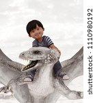 boy riding the dragon 3d...   Shutterstock . vector #1110980192