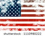 usa flag snowflake background | Shutterstock . vector #1110980222