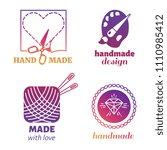bright handmade hipster logo... | Shutterstock . vector #1110985412