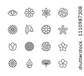 flowers flat line icons.... | Shutterstock .eps vector #1110987308