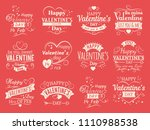 vintage valentines day banners... | Shutterstock . vector #1110988538
