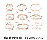 vintage vector set. floral... | Shutterstock .eps vector #1110989792