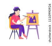 young woman painter sitting... | Shutterstock .eps vector #1110990926