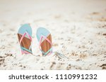 trendy  blue and pink slippers...   Shutterstock . vector #1110991232