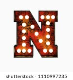 letter n. realistic rusty light ... | Shutterstock . vector #1110997235
