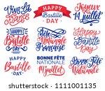 bastille day handwritten... | Shutterstock .eps vector #1111001135