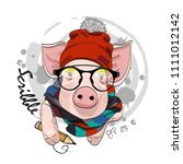vector pig with pencil  glasses ... | Shutterstock .eps vector #1111012142
