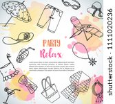 summer hand drawn background.... | Shutterstock .eps vector #1111020236