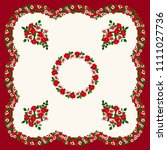 scarf floral print. russian... | Shutterstock . vector #1111027736