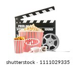 cups with tasty popcorn ...   Shutterstock . vector #1111029335