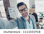 self portrait of joyful funny... | Shutterstock . vector #1111031918