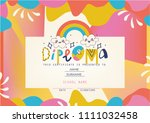 playful diploma template for... | Shutterstock .eps vector #1111032458